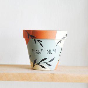 Terakotový kvetináč Plant mum ručne maľovaný